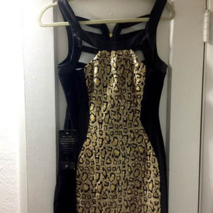 BEBE sequin leopard sexy black gold dress M